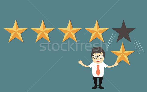 Vásárló visszajelzés csillag minőség munka üzletember Stock fotó © makyzz