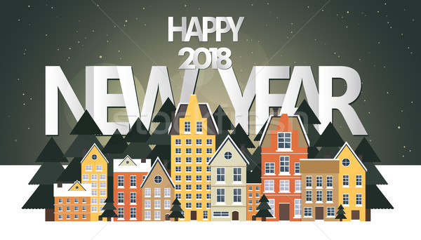 Happy new year 2018 poster. Cozy neighborhood celebrating New Year. New Year's Eve concept. Flat vec Stock photo © makyzz
