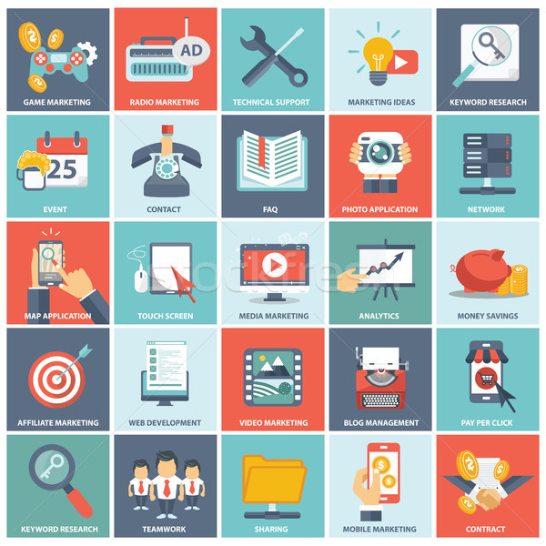Modern flat icons vector collection in stylish colors of web design objects, business, office and ma Stock photo © makyzz