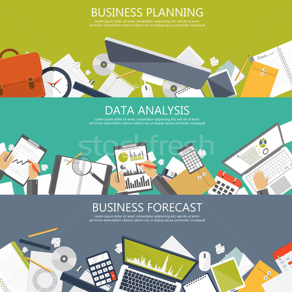 Business planning, data analysis and business forecast banners for website. Flat vector illustration Stock photo © makyzz