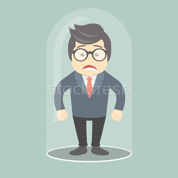 Trist om de afaceri prins sticlă bec birou Imagine de stoc © makyzz