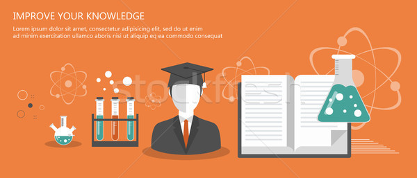 Education banners. On line learning, tutorials, professional education. Flat vector illustration Stock photo © makyzz
