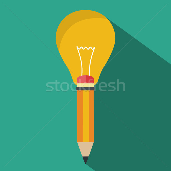 Pen with light bulb. Concept of creative writing. Flat vector illustration Stock photo © makyzz