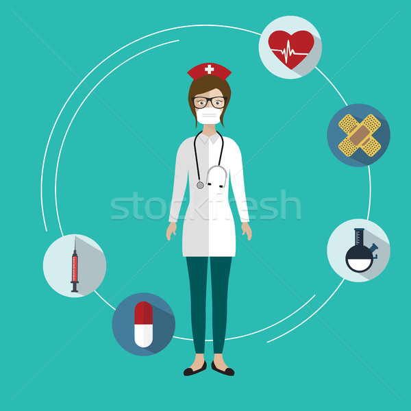 Flat icon of medical nurse with medical items. Flat vector design. Stock photo © makyzz
