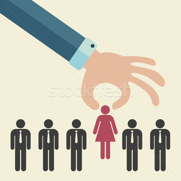 Choosing the best candidate for the job concept. Hand picking up a businesswoman stick figure from t Stock photo © makyzz
