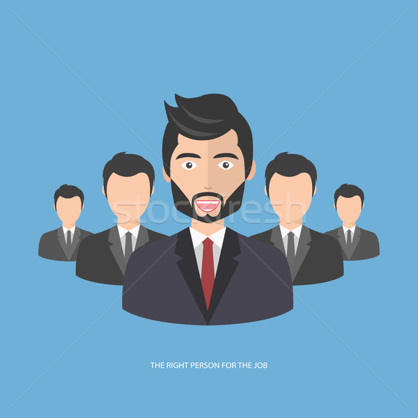 Find the right person for the job concept. Blue background. Flat vector design Stock photo © makyzz