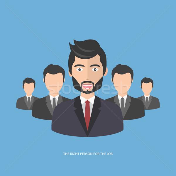 Odnaleźć osoby pracy niebieski wektora Zdjęcia stock © makyzz