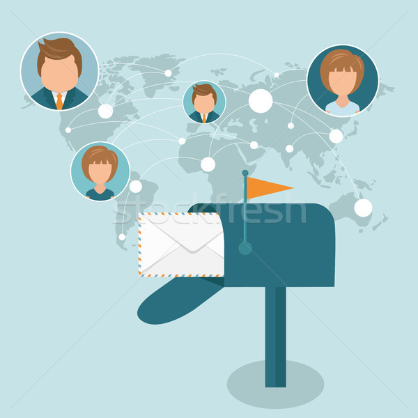 Social network and global communications concept. Flat vector illustration Stock photo © makyzz