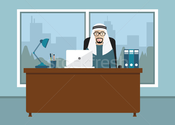 Arabic businessman sitting at office desk. Working on computer. Flat Vector Illustration. Stock photo © makyzz