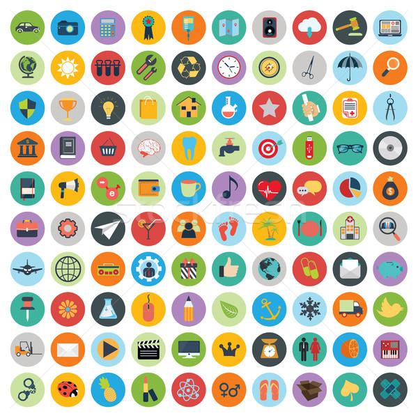 Flat icons design modern vector illustration. Big set of web and technology development icons, busin Stock photo © makyzz