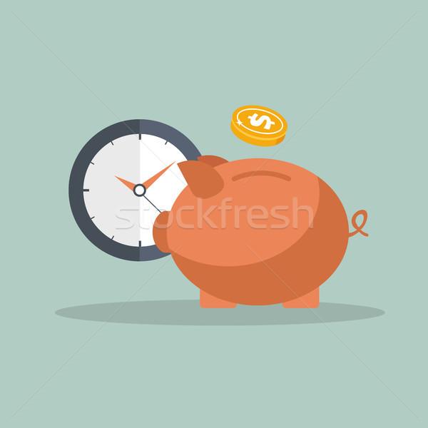 Spaarvarken klok icon business bar zak Stockfoto © makyzz