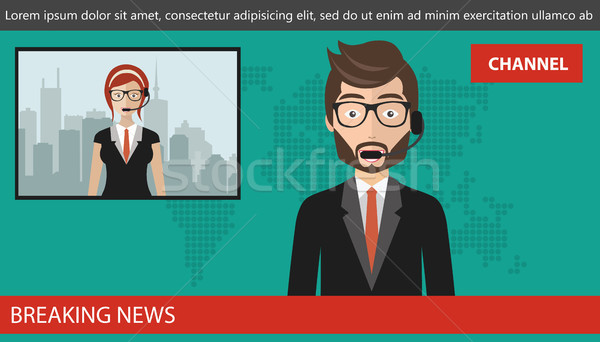 Breaking news concept. News anchor broadcasting the news with a reporter live on screen. Flat vector Stock photo © makyzz