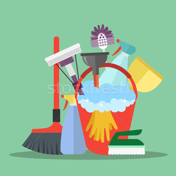 Cleaning equipment. Cleaning service concept. Poster template for house cleaning services with vario Stock photo © makyzz