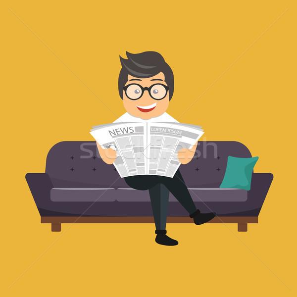 üzletember olvas újság kanapé szoba iroda Stock fotó © makyzz