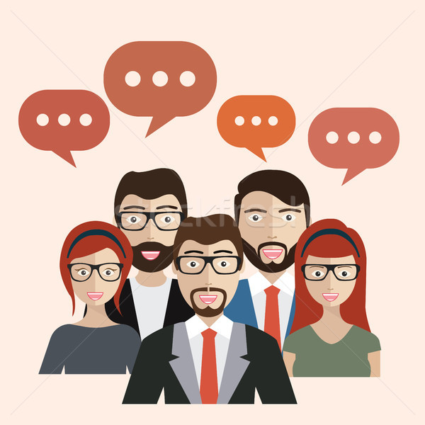Set of business people with speech bubbles. Avatars. Flat vector. Stock photo © makyzz