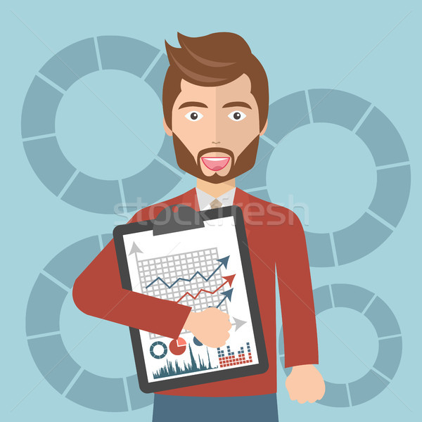 Businessman with a task, showing task and analytic. Flat vector illustration Stock photo © makyzz