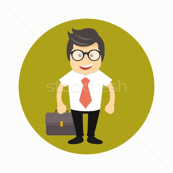 Happy businessman with briefcase icon. Businessman avatar icon. Flat vector illustration Stock photo © makyzz