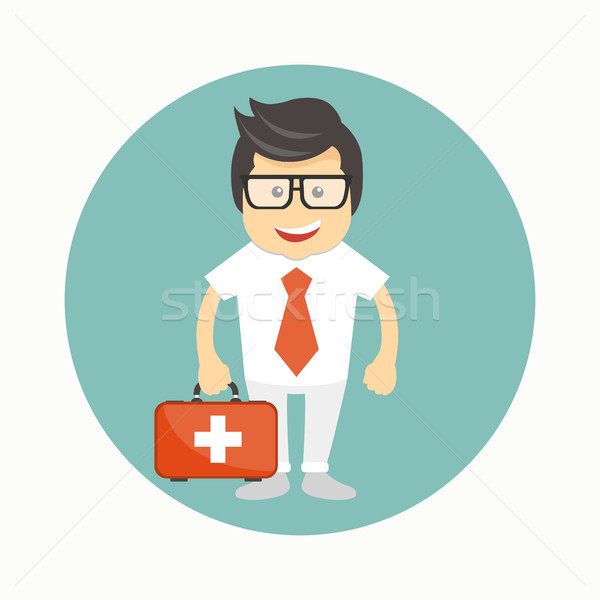 Male doctor icon. Cartoon avatar. Flat vector illustration Stock photo © makyzz