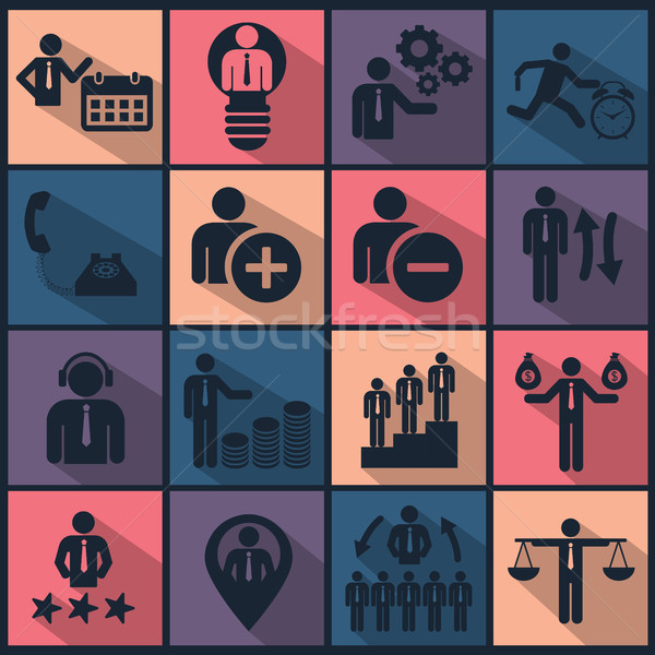 Human resources and management icon set 2 Stock photo © makyzz