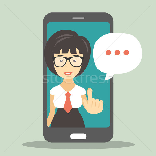Technical support concept. Screen smartphone with virtual assistant. Flat vector illustration Stock photo © makyzz