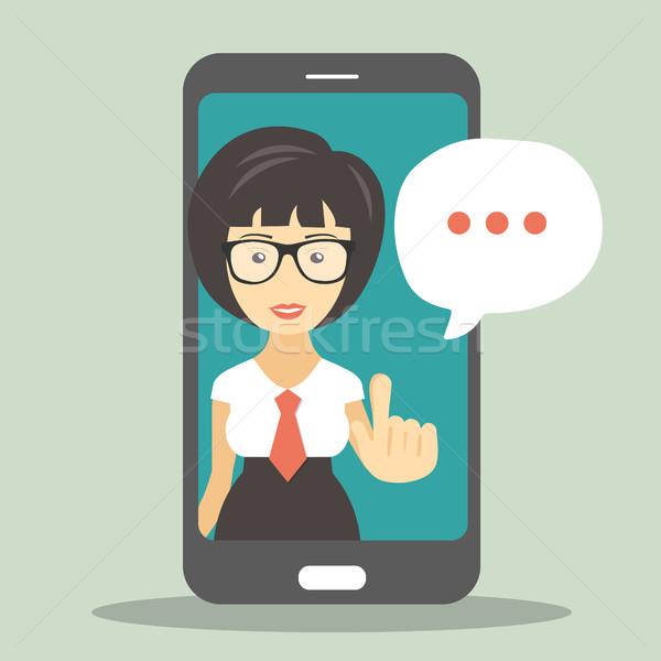 Technische ondersteuning scherm smartphone virtueel assistent business Stockfoto © makyzz