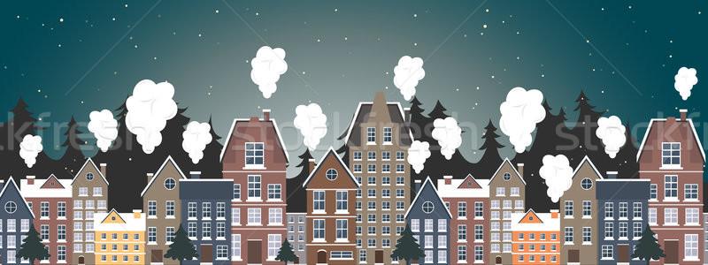 Stockfoto: Winter · landschap · nieuwjaar · poster · dorp · licht