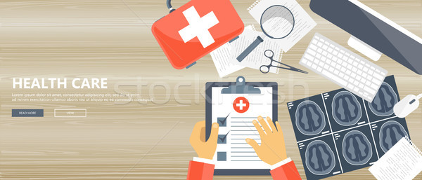 Health care concept. Wooden desk with medical equipment. Flat vector illustration Stock photo © makyzz