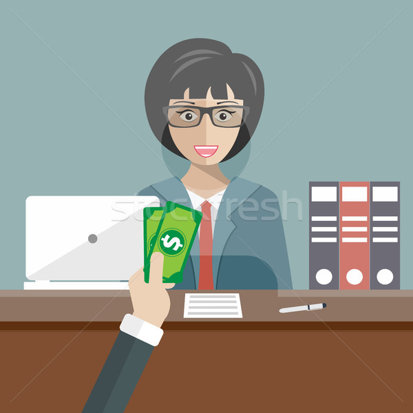 Bank teller sitting behind glass. Woman clerk in a bank office receiving money. Flat vector illustra Stock photo © makyzz