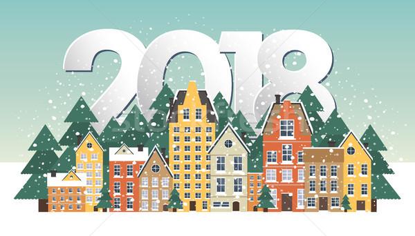 Winter landscape. New Year poster. Winter in village. Stock photo © makyzz