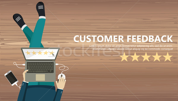 Rating on customer service illustration. Man sitting on the floor and holding tablet in his lap. Web Stock photo © makyzz