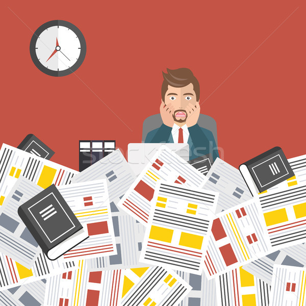 Worried businessman with pile of paper, business concept. Deadline concept. Flat vector illustration Stock photo © makyzz