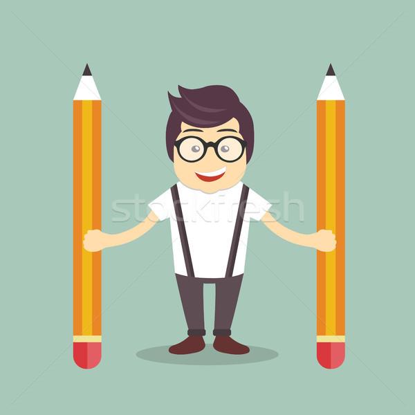 бизнесмен карандашей бизнеса служба человека школы Сток-фото © makyzz