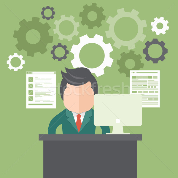 Electronic document processing concept, programming and coding Stock photo © makyzz