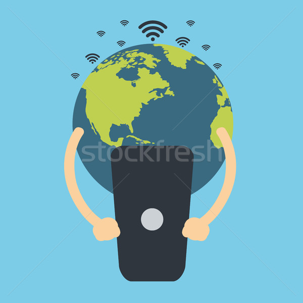 Earth globe holding cell phone. Global communication. Flat vector design. Stock photo © makyzz