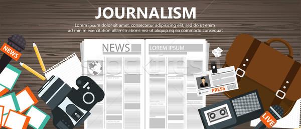 Journalism flat banner. Equipment for journalist on desk. Flat vector illustration  Stock photo © makyzz