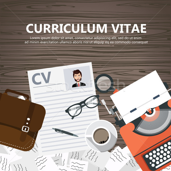 CV papers on desk with lap top, bag, papers. coffee, glasses, pen, document and magnifying glass. Fl Stock photo © makyzz