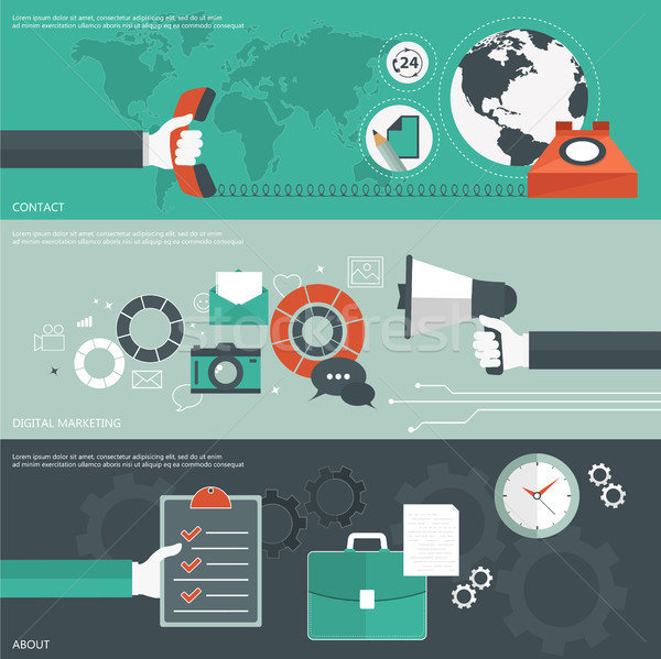 Set of flat design vector illustration concepts for contact, digital marketing, and categories. Conc Stock photo © makyzz