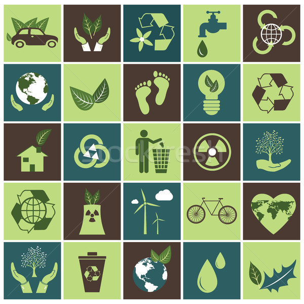Ecology icons set on green and brown. Flat vector design. Stock photo © makyzz