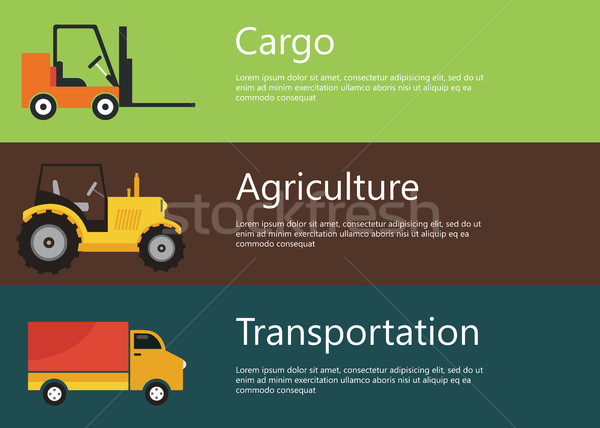 Modern and creative flat vector design, logistics and agriculture vehicles. Forklift, tractor and ca Stock photo © makyzz