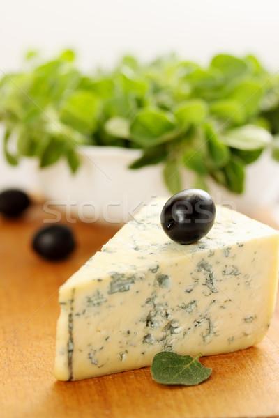 Kaas olijven oregano groot stuk schimmelkaas Stockfoto © mallivan