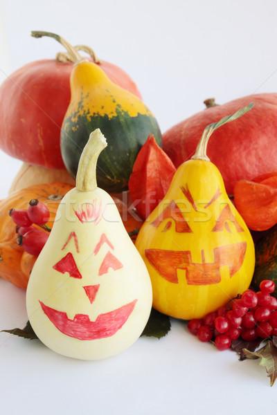 Geschilderd pompoenen halloween witte voedsel oranje Stockfoto © mallivan
