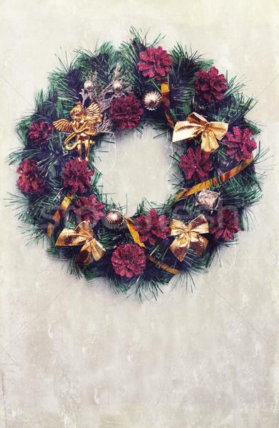 Vintage Рождества венок декоративный подвесной двери Сток-фото © mallivan