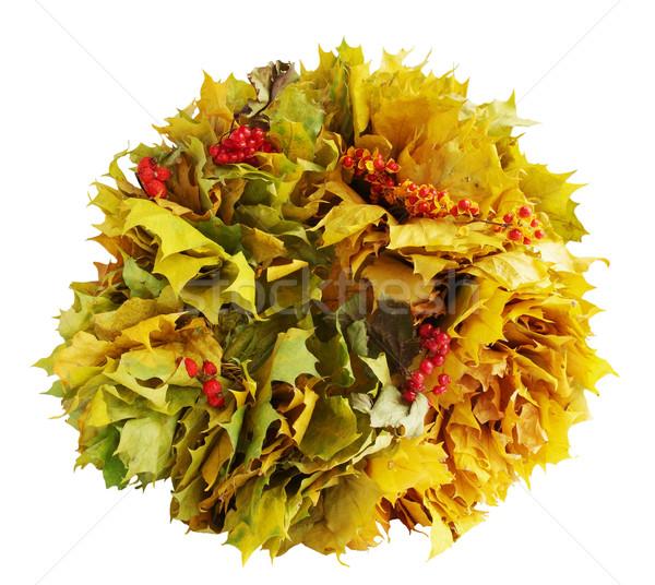 Wreath of yellow maple leaves Stock photo © mallivan