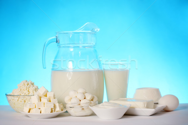 dairy products on a blue background Stock photo © mallivan
