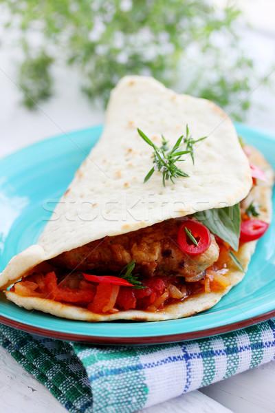 лаваш хлеб фаршированный мяса соус Chili Сток-фото © mallivan