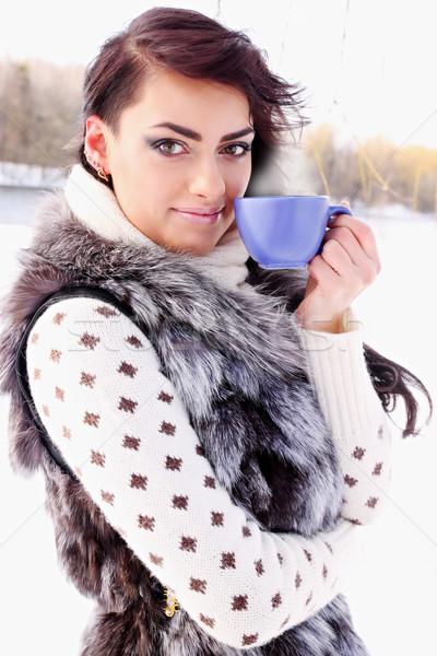 Кубок кофе горячий напиток женщину продовольствие Сток-фото © mallivan