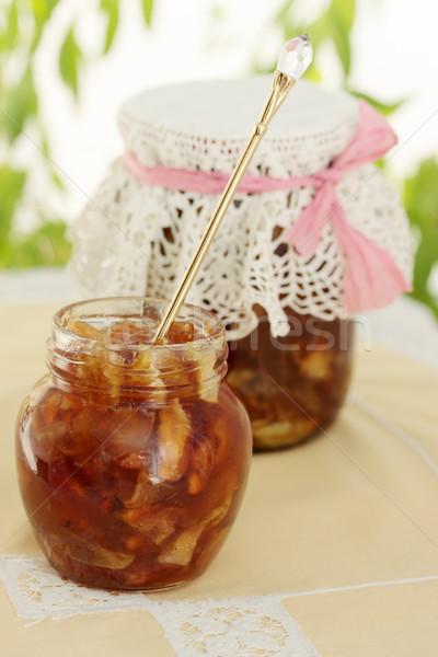 Lepel jam appel specerijen voedsel Stockfoto © mallivan