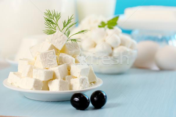 Fetasajt olajbogyók vág szeletek tányér levél Stock fotó © mallivan
