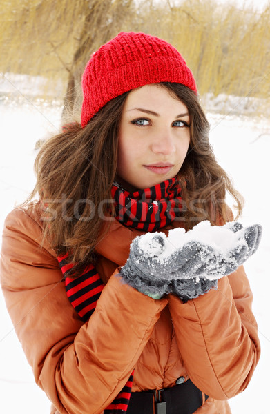 pile of snow in the hands of Stock photo © mallivan