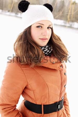 Photo stock: Portrait · femme · fleur · sourire · femmes · modèle
